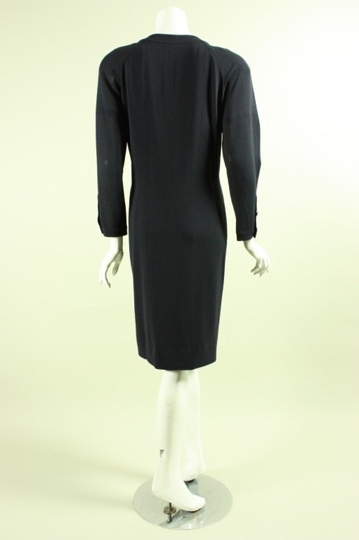 Chanel Dress 1990's with Placket & Bow Vintage - regenerationvintageclothing