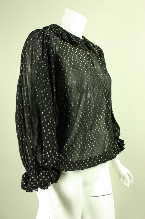 Yves Saint-Laurent Blouse 1970's Black Chiffon Metallic Dotted Vintage - regenerationvintageclothing