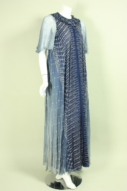 Vintage 1970's Gina Frattini Blue Ombre Gown