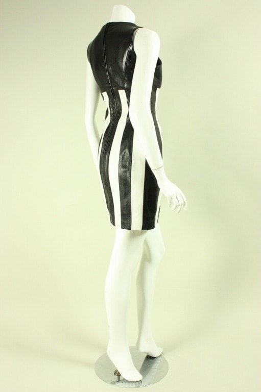 North Beach Dress by Michael Hoban 1991 Striped Leather Vintage - regenerationvintageclothing