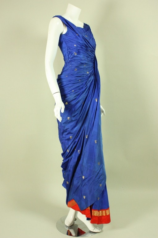 1950's Gown Royal Blue Silk Sari Evening Vintage - regenerationvintageclothing