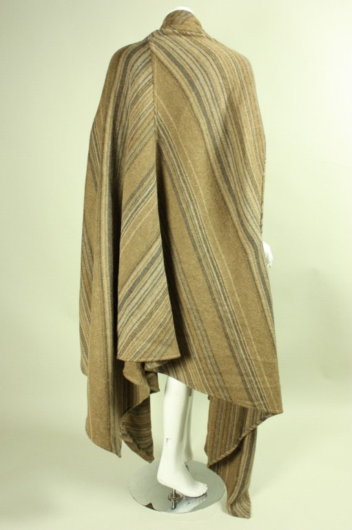 Issey Miyake Cape 1980's Striped Wool Vintage - regenerationvintageclothing