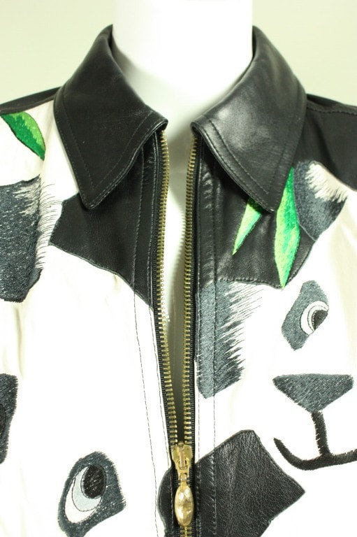 Vintage 1980's Iceberg Leather Bomber with Panda Motif