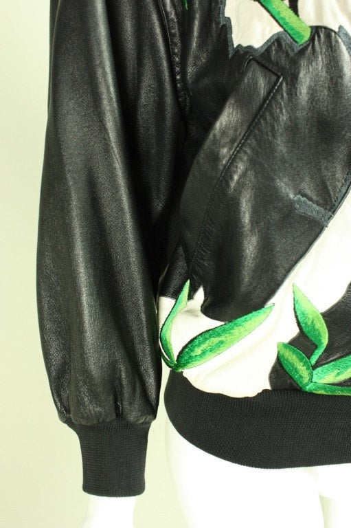 Iceberg Bomber Jacket Leather 1980's with Panda Motif Vintage - regenerationvintageclothing