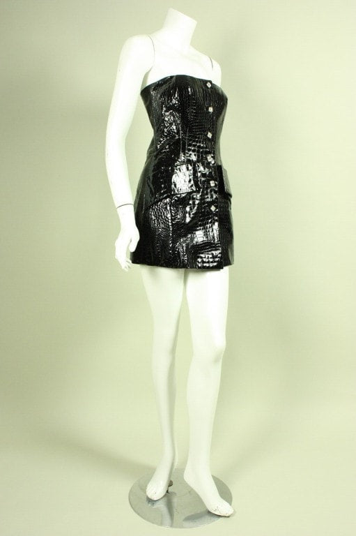 Galanos Mini Dress 1990's Crocodile Embossed Vinyl Vintage - regenerationvintageclothing