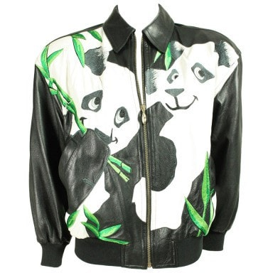 Vintage Clothing: 1980's Iceberg Leather Bomber with Panda Motif