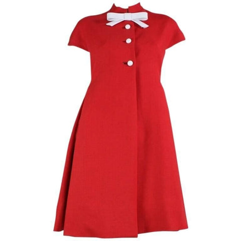 Geoffrey Beene Dress 1960's Red Linen Babydoll Vintage - regenerationvintageclothing