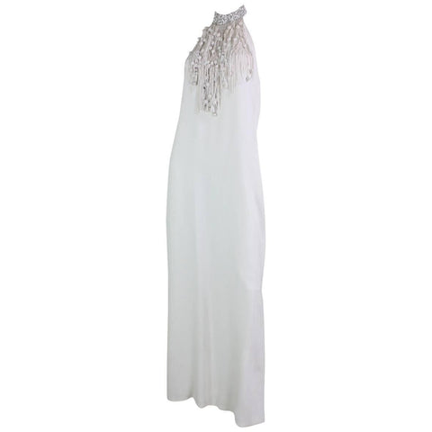 Valentino Gown Halter Column with Fringed Neckline Vintage - regenerationvintageclothing