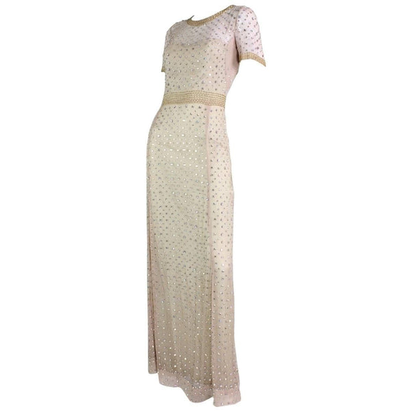 1960's Gown Beaded & Rhinestone-Encrusted Vintage - regenerationvintageclothing
