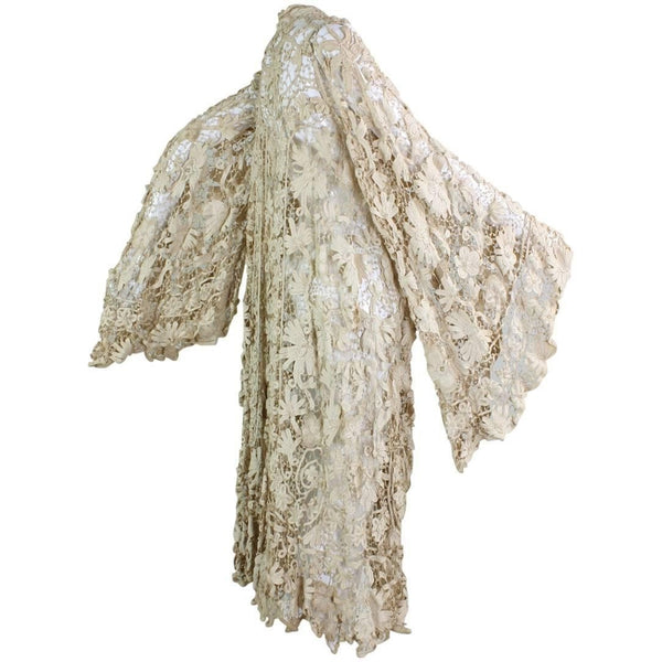 Vintage Edwardian Battenburg Lace Coat with Bell Sleeves