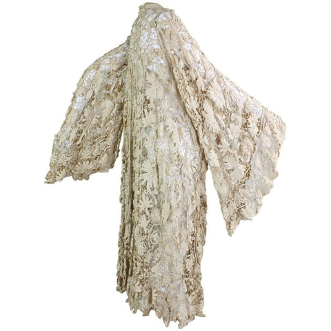 Edwardian Coat Battenburg Lace with Bell Sleeves Vintage - regenerationvintageclothing