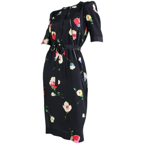 Vintage Dresses - 1970's Chloe Silk Floral Dress