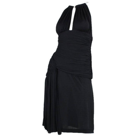 Vicky Tiel Cocktail Dress 1980's Ruched Black Vintage - regenerationvintageclothing