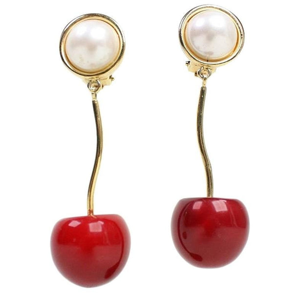 Valentino Earrings Cherry & Pearl Vintage - regenerationvintageclothing
