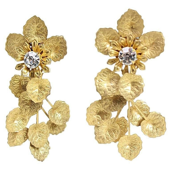 Miriam Haskell Gold-toned Rhinestone Earrings Vintage - regenerationvintageclothing