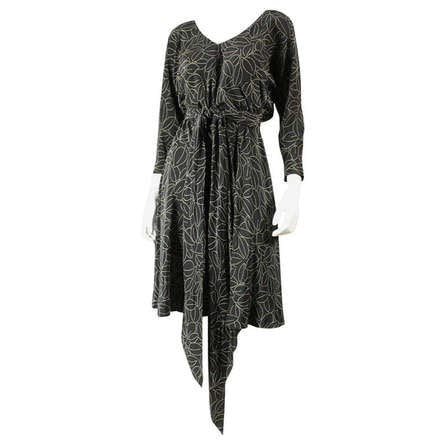 Vintage Dresses: 1970's Halston Printed Wrap Dress
