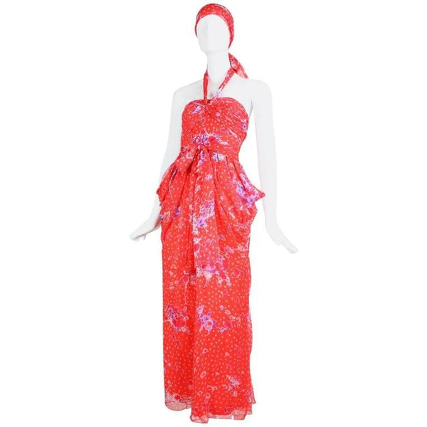 Vintage 1970's Givenchy Red Floral Silk Chiffon Gown