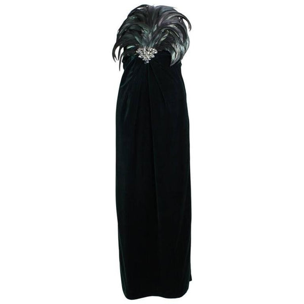 Bill Blass Gown 1980's Velvet with Dramatic Feathered Bodice Vintage - regenerationvintageclothing