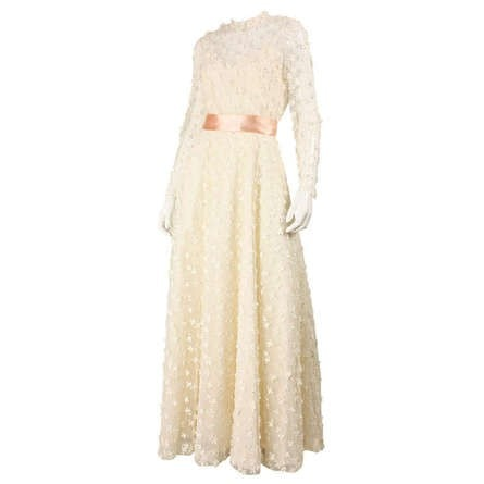 Stavropoulos Gown 1970's Net with Allover Flower Applique Vintage - regenerationvintageclothing