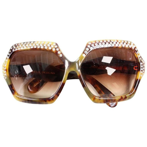 1970's Sunglasses Oversized Faux Tortoise Shell with Rhinestones Vintage - regenerationvintageclothing