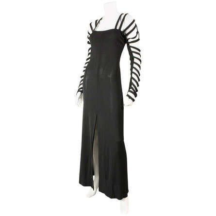 Sophie Sitbon Gown 1990's Black with Cutout Detailing Vintage - regenerationvintageclothing