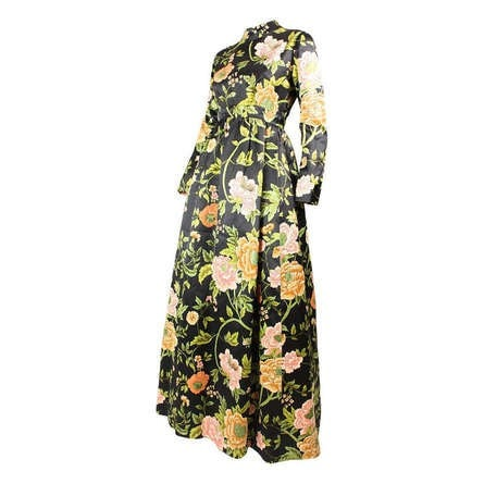 George Halley Gown 1960's Satin & Cut Velvet Floral Vintage - regenerationvintageclothing