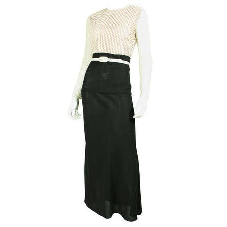 Vintage Dresses: 1970's Galanos Black & White Gown