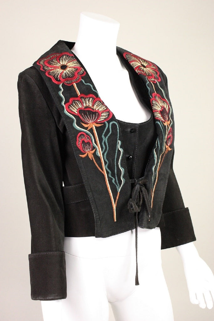 Bill Gibb Jacket & Vest 1970's Suede with Embroidery Vintage - regenerationvintageclothing