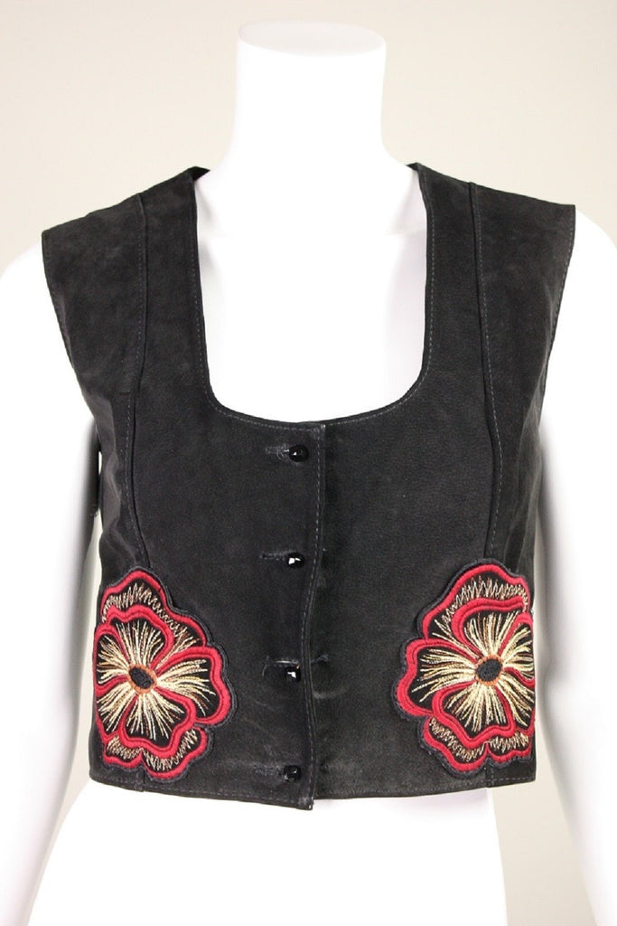 Vintage 1970's Bill Gibb Suede Jacket & Vest with Embroidery