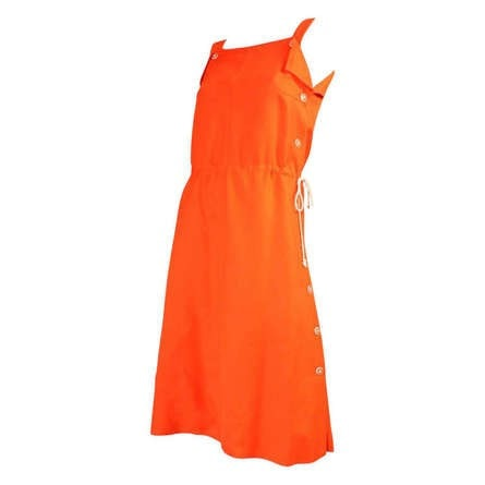 Courreges Dress 1970's Orange Linen Sleeveless Vintage - regenerationvintageclothing