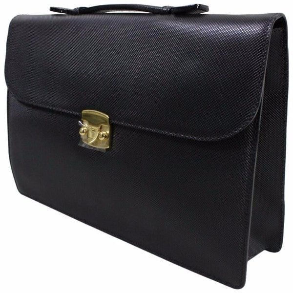 1990's Bottega Veneta Black Leather Briefcase