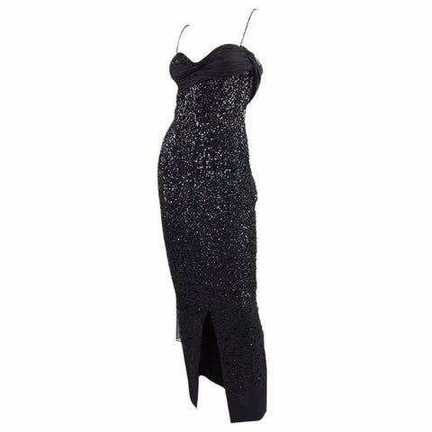 Vintage Dresses: 1950's Frank Starr Black Sequined Gown