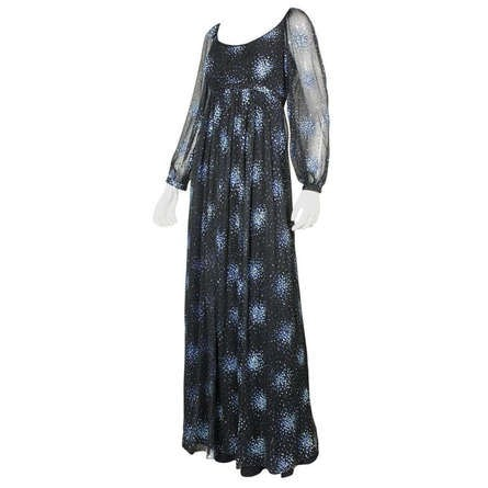 Alfred Bosand 1970's Gown Black Chiffon Glitter Vintage - regenerationvintageclothing