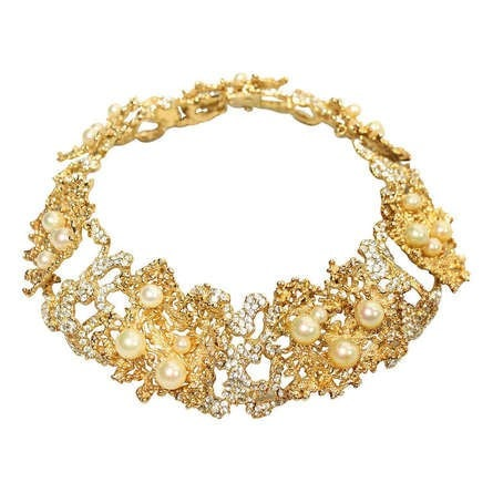 Vintage Jewelry: 1968 Christian Dior Necklace with Faux Pearls & Rhinestones