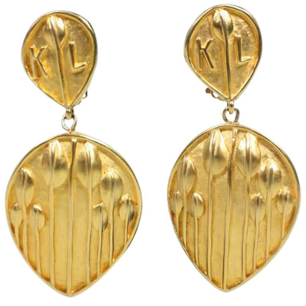 Karl Lagerfeld Earrings Leaf Drop Vintage - regenerationvintageclothing