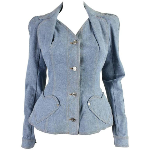 Christian Dior Jacket Denim with Heart Pockets Vintage - regenerationvintageclothing