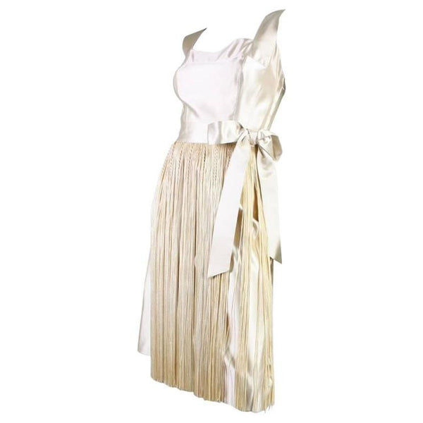 Ben Reig Cocktail Dress 1950's with Fringed Hem Vintage - regenerationvintageclothing