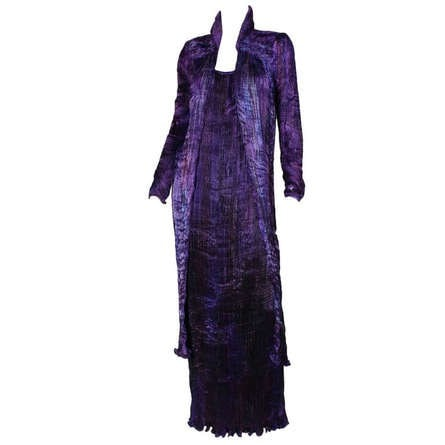 Patricia Lester Gown & Coat 1990's Pleated Vintage - regenerationvintageclothing