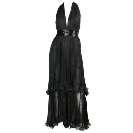 Alfred Bosand Gown & Cape 1970's Black Chiffon Tiered Vintage - regenerationvintageclothing