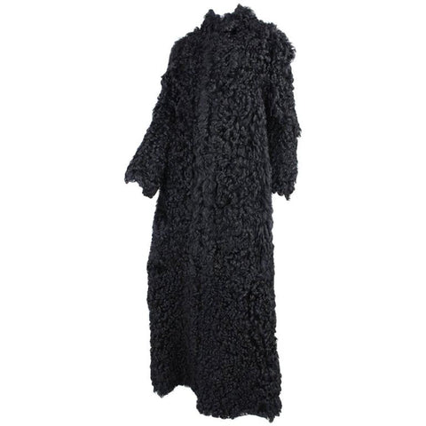 Vintage Clothing: 1960's Full Length Black Curly Lamb Coat