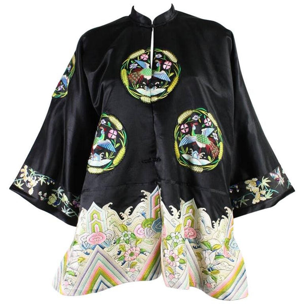 1930's Chinese Embroidered Silk Jacket Vintage - regenerationvintageclothing