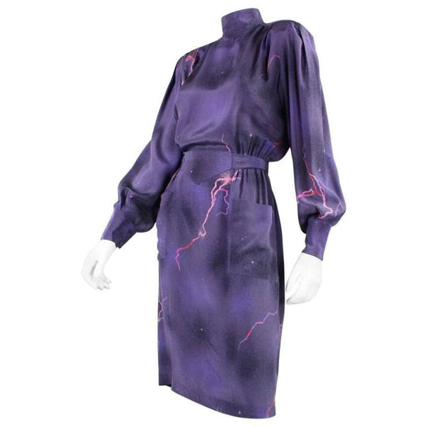 Thierry Mugler Dress 1980's Purple Silk Vintage - regenerationvintageclothing