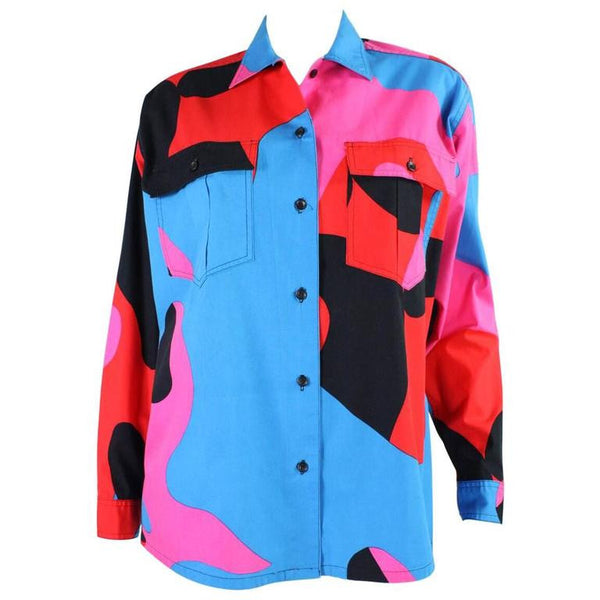 Stephen Sprouse Blouse 1980's with Warhol Camouflage Print Vintage - regenerationvintageclothing
