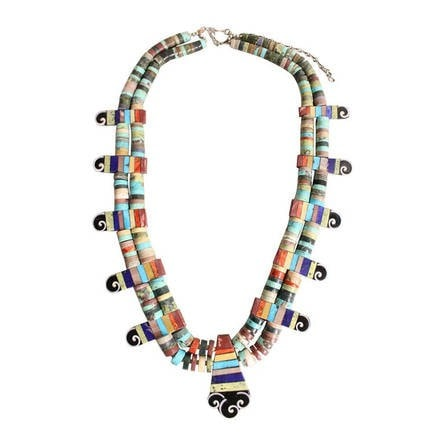 Vintage Jewelry: Contemporary Mary & Lorenzo Tafoya Inlaid Necklace