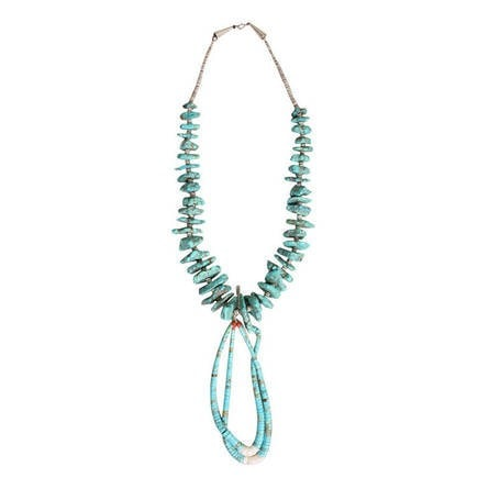 Vintage Jewelry: 1970's Native American Turquoise Nugget Jacla Necklace