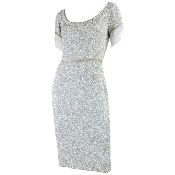 Vintage Clothing: 1960's Fully Sequined Iceberg Blue Cocktail Dress