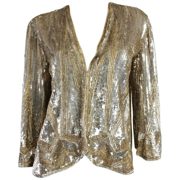 1930's Jacket Gold Sequined Made in France Vintage - regenerationvintageclothing