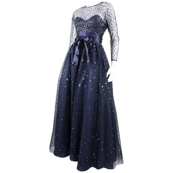 Victor Costa Ball Gown 1980's Navy Tulle Vintage - regenerationvintageclothing