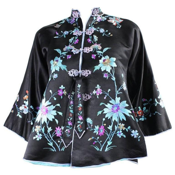 1930's Chinese Silk Jacket with Hand Embroidery Vintage - regenerationvintageclothing