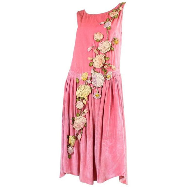 Vintage 1920's Pink Velvet Dress with Ribbon Embroidery